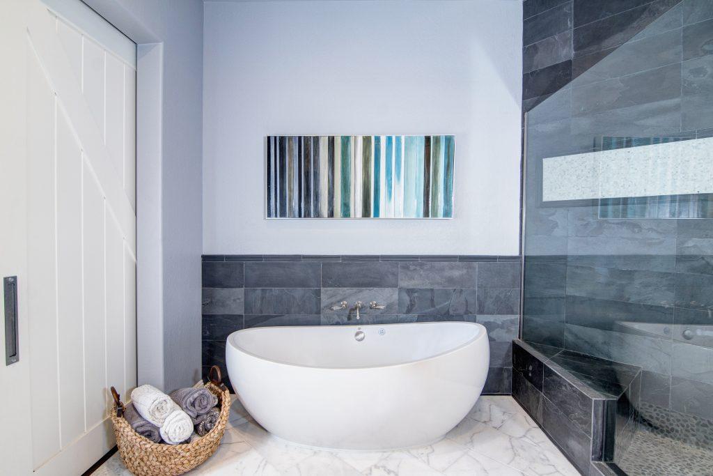 Modern Bath & Transitional Kitchen